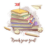 Stack of Hand Drawn Books with Red Flag on the Top. Reach Your Goal Education Concept Stock Images