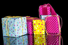 Stack of hand wrapped presents for celebration Royalty Free Stock Photo