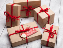 Stack of handcraft gift boxes Stock Image