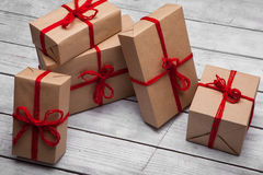Stack of handcraft gift boxes Stock Photos