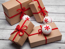 Stack of handcraft gift boxes Stock Photography