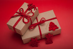 Stack of handcraft gift boxes Royalty Free Stock Images