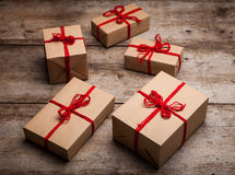 Stack of handcraft gift boxes Royalty Free Stock Photos
