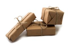 Stack of handcraft gift boxes on white background Stock Photos