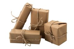 Stack of handcraft gift boxes on white background Royalty Free Stock Images
