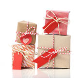 Stack of handcraft gift boxes. On white background Stock Image