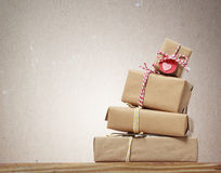 Stack of handcrafted gift boxes Royalty Free Stock Photography