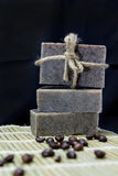 Stack of Handmade coffee scrub soap Royalty Free Stock Photography