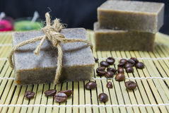 Stack of Handmade coffee scrub soap Stock Photo