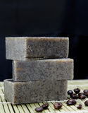 Stack of Handmade coffee scrub soap Royalty Free Stock Image