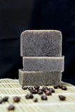 Stack of Handmade coffee scrub soap Stock Images