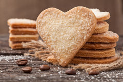 Stack of handmade heart shaped cookies gift for valentines day h Royalty Free Stock Photos