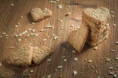 Stack of handmade heart shaped cookies Stock Photo