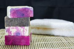 Stack of handmade soap Royalty Free Stock Photos