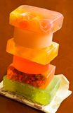 Stack of handmade soaps stock photography