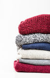 Stack of handmade wool sweaters Royalty Free Stock Image