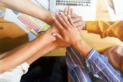 Stack of hands. Unity and teamwork concept. royalty free stock photo