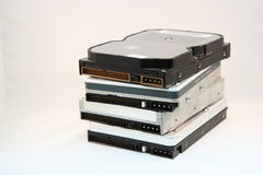 Stack of hard disks. Four 3.5-inch hard disks loosely stacked Royalty Free Stock Images