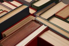 Stack of hardback books. Background. Many colorful books piles, close-up. Education concept Stock Photo