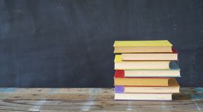 Stack of hardback books, reading, education, literature, copy space royalty free stock photography