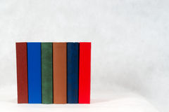 Stack of hardback books on table. Back to school. Copy space royalty free stock image