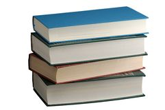 Stack of hardcover books isolated on white Royalty Free Stock Photography