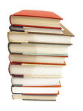 Stack of hardcover books on white background Royalty Free Stock Photos