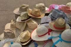 Stack hat. Stack of hat on marketplace Stock Photography