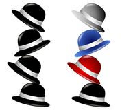 Stack of Hats Isolated. A clip art illustration of 2 stacks of hats - first pile all in black, and the second in black,red,blue and grey colors vector illustration