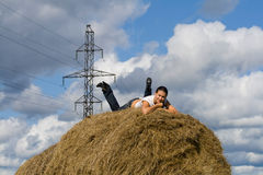 Stack hay Stock Image