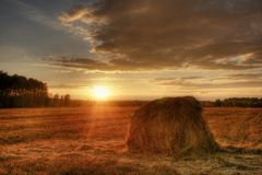 Stack of hay on the sunset stock image