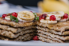 Stack of healthy low carbs oat pancakes Royalty Free Stock Photography