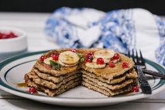 Stack of healthy low carbs oat pancakes Stock Photos
