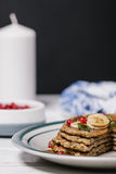 Stack of healthy low carbs oat pancakes Stock Photo