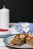 Stack of healthy low carbs oat pancakes Royalty Free Stock Photos
