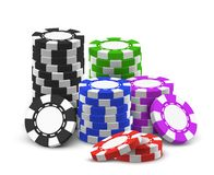 Stack or heap for 3d or realistic poker chips. Heap of red and blue, black and violet, green realistic betting chips. Stack of casino money or pile, tower of royalty free illustration