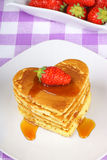 Stack of heart-shaped pancakes Stock Image