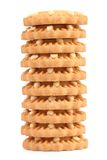 Stack of heart shaped strawberry biscuit. Stock Photos