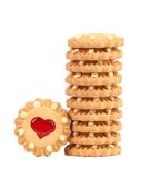 Stack of heart shaped strawberry biscuit. On a white background Royalty Free Stock Photography