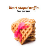 Stack of heart shaped waffles Stock Photos