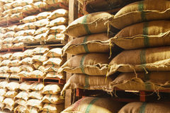 Stack hemp sacks of rice Royalty Free Stock Photos