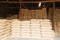 Stack hemp sacks of rice Stock Photography
