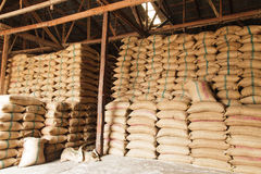 Stack hemp sacks of rice Stock Images