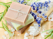 Stack of Herbal Homemade Soap with Lavender Stock Image