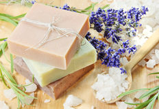 Stack of Herbal Soap with Salt Royalty Free Stock Photography