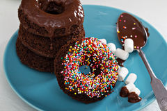 Stack of homemade baked chocolate donuts Royalty Free Stock Photo
