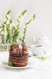 Stack of Homemade Chocolate Pancakes with Chocolate Ice-Cream stock image