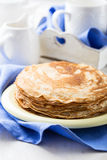 Stack of homemade crepes for brunch or dessert Stock Photos