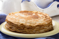 Stack of homemade crepes for brunch or dessert Royalty Free Stock Image