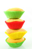 Stack of homemade muffins. Stacke of homemade muffins isolated on white background stock photo
